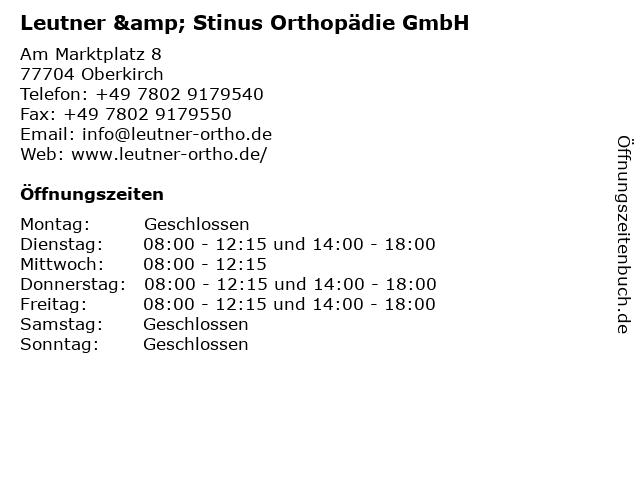 Leutner & Stinus Orthopädie in Oberkirch: Adresse und Öffnungszeiten