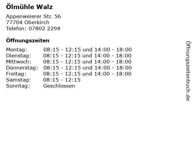 Ölmühle Walz in Oberkirch: Adresse und Öffnungszeiten