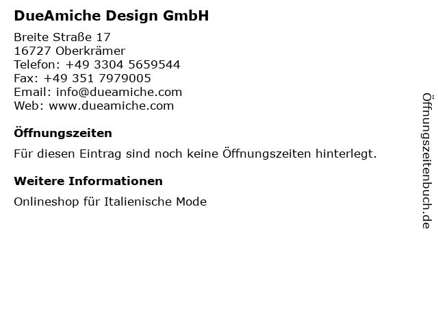 DueAmiche Design GmbH in Oberkrämer: Adresse und Öffnungszeiten