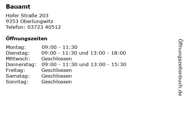Bauamt in Oberlungwitz: Adresse und Öffnungszeiten
