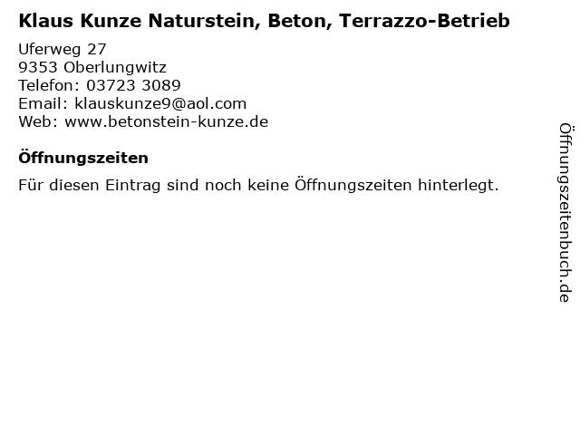 Klaus Kunze Naturstein, Beton, Terrazzo-Betrieb in Oberlungwitz: Adresse und Öffnungszeiten