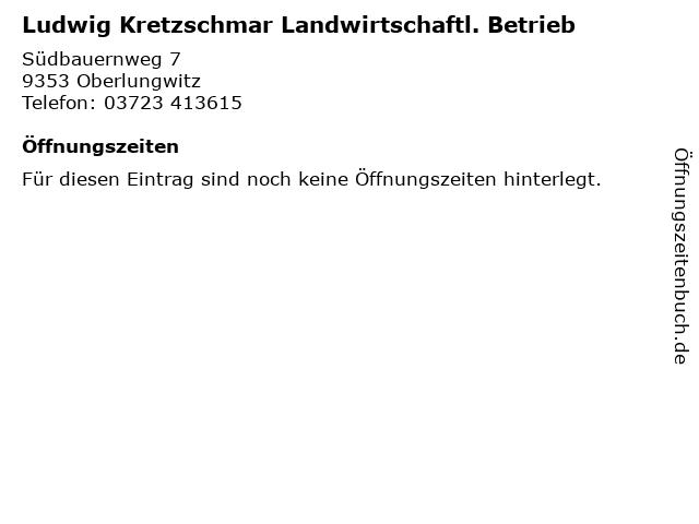 Ludwig Kretzschmar Landwirtschaftl. Betrieb in Oberlungwitz: Adresse und Öffnungszeiten