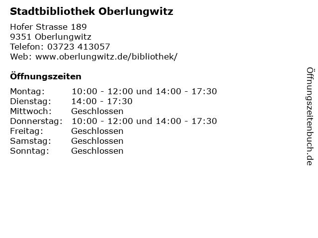 Stadtbibliothek Oberlungwitz in Oberlungwitz: Adresse und Öffnungszeiten