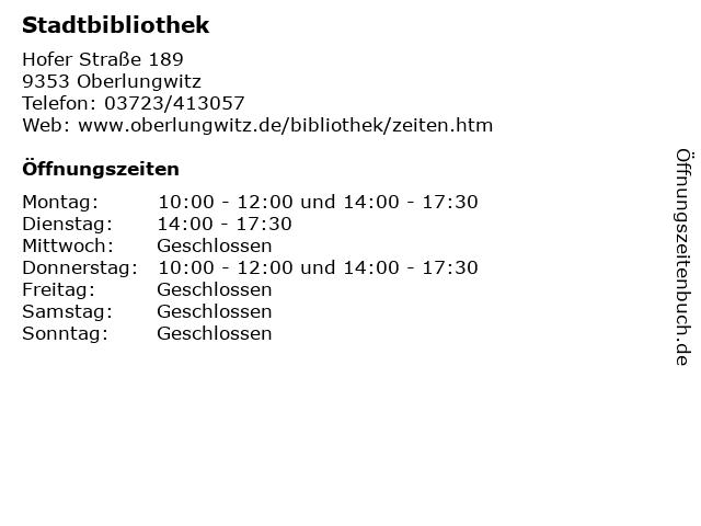 Stadtbibliothek in Oberlungwitz: Adresse und Öffnungszeiten