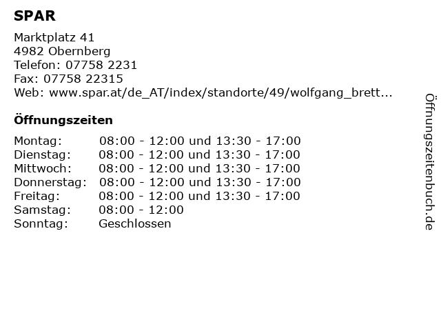 SPAR in Obernberg: Adresse und Öffnungszeiten