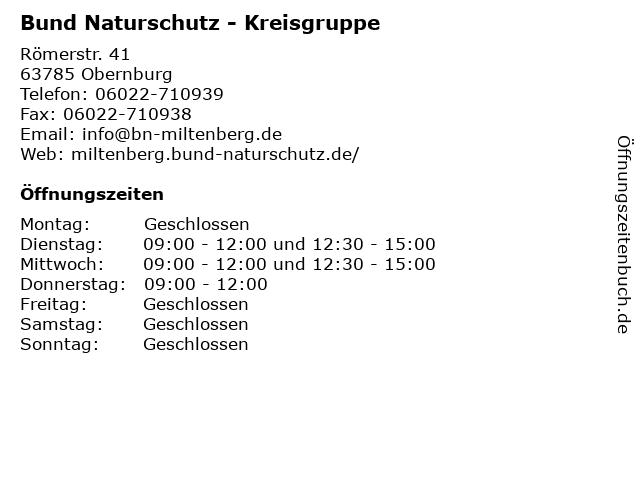 Bund Naturschutz - Kreisgruppe in Obernburg: Adresse und Öffnungszeiten