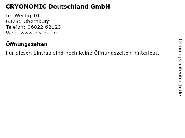 CRYONOMIC Deutschland GmbH in Obernburg: Adresse und Öffnungszeiten