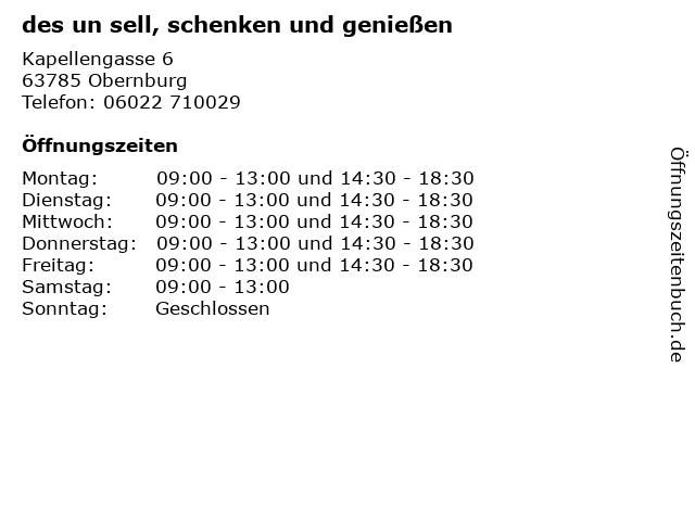 des un sell, schenken und genießen in Obernburg: Adresse und Öffnungszeiten