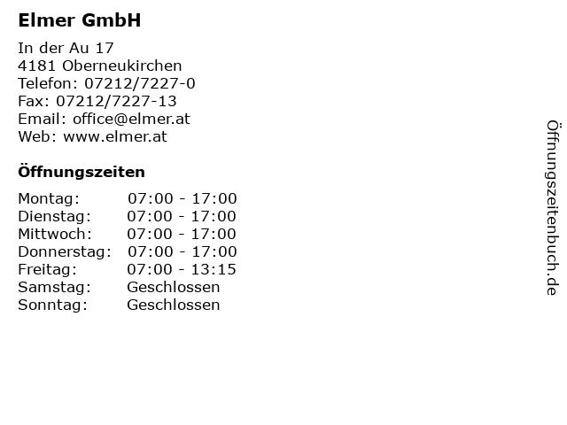 Elmer GmbH in Oberneukirchen: Adresse und Öffnungszeiten