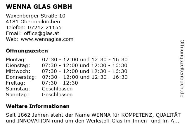 WENNA GLAS GMBH in Oberneukirchen: Adresse und Öffnungszeiten