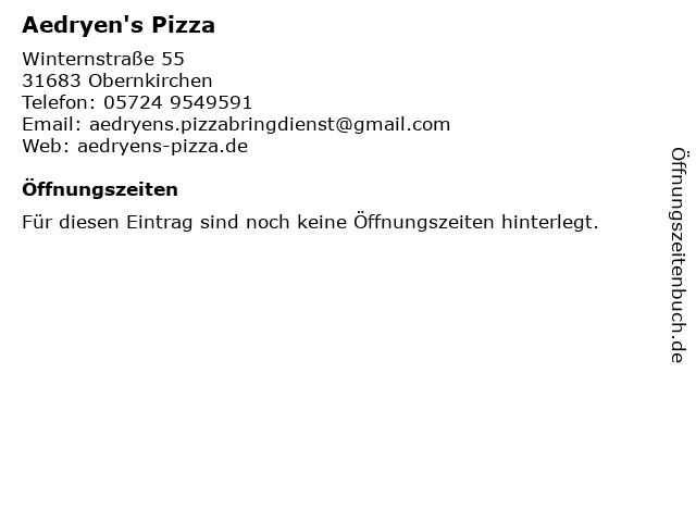 Aedryen's Pizza in Obernkirchen: Adresse und Öffnungszeiten