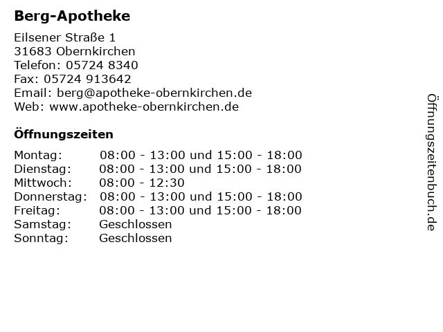 Berg-Apotheke in Obernkirchen: Adresse und Öffnungszeiten