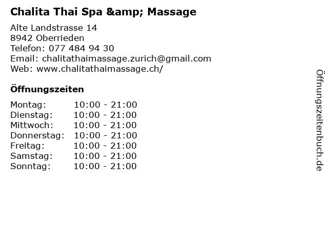 Chalita Thai Spa & Massage in Oberrieden: Adresse und Öffnungszeiten
