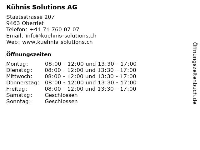 Kühnis Solutions AG in Oberriet: Adresse und Öffnungszeiten