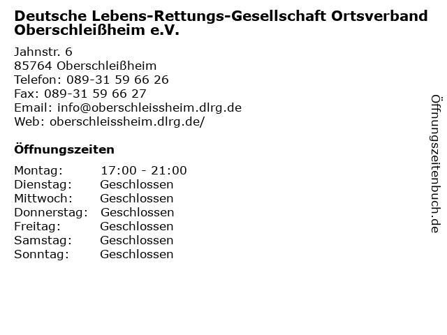 Deutsche Lebens-Rettungs-Gesellschaft Ortsverband Oberschleißheim e.V. in Oberschleißheim: Adresse und Öffnungszeiten