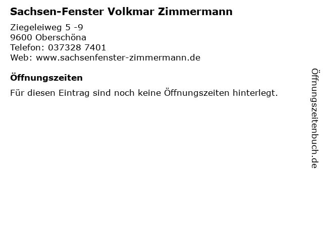ᐅ Offnungszeiten Sachsen Fenster Volkmar Zimmermann Ziegeleiweg