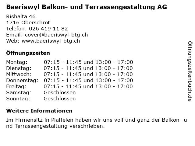 Baeriswyl Balkon- und Terrassengestaltung AG in Oberschrot: Adresse und Öffnungszeiten