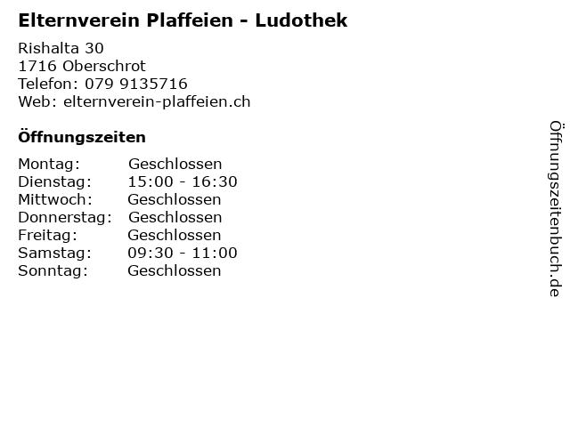 Elternverein Plaffeien - Ludothek in Oberschrot: Adresse und Öffnungszeiten