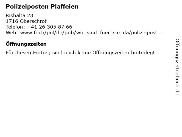 Polizeiposten Plaffeien in Oberschrot: Adresse und Öffnungszeiten