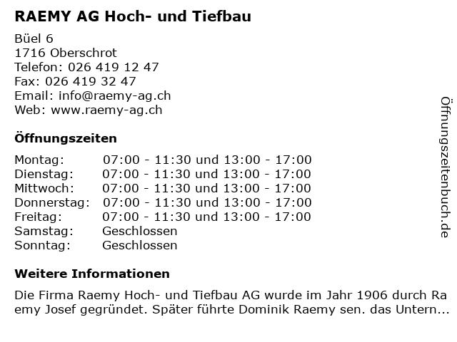 RAEMY AG Hoch- und Tiefbau in Oberschrot: Adresse und Öffnungszeiten