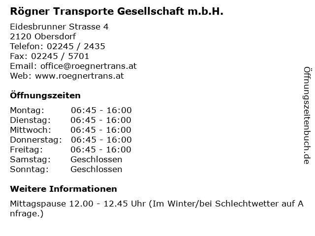 Rögner Transporte Gesellschaft m.b.H. in Obersdorf: Adresse und Öffnungszeiten