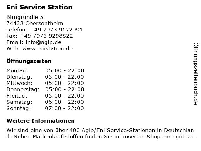 Agip Service Station in Obersontheim: Adresse und Öffnungszeiten