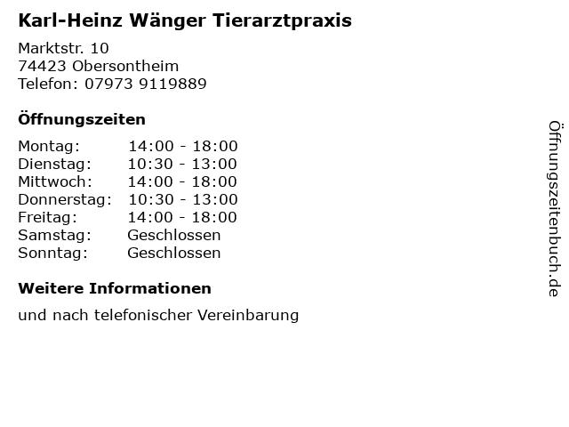 Karl-Heinz Wänger Tierarztpraxis in Obersontheim: Adresse und Öffnungszeiten