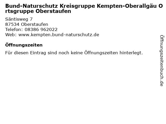 Bund-Naturschutz Kreisgruppe Kempten-Oberallgäu Ortsgruppe Oberstaufen in Oberstaufen: Adresse und Öffnungszeiten