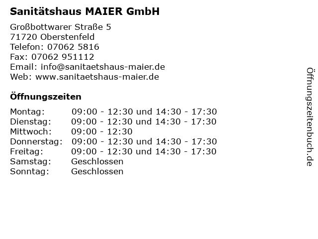Sanitätshaus MAIER GmbH in Oberstenfeld: Adresse und Öffnungszeiten