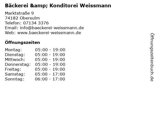 Bäckerei & Konditorei Weissmann in Obersulm: Adresse und Öffnungszeiten