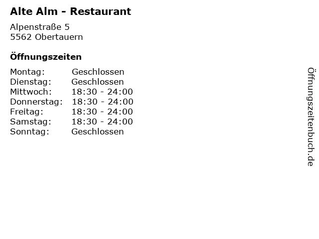 Alte Alm - Restaurant in Obertauern: Adresse und Öffnungszeiten