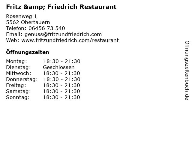 Fritz & Friedrich Restaurant in Obertauern: Adresse und Öffnungszeiten