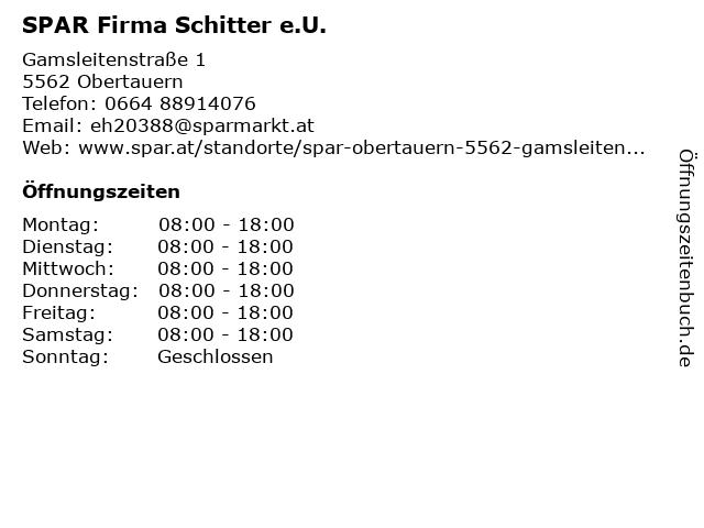SPAR Supermarkt in Obertauern: Adresse und Öffnungszeiten