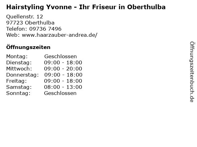 Hairstyling Yvonne - Ihr Friseur in Oberthulba in Oberthulba: Adresse und Öffnungszeiten