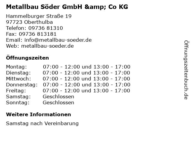 Metallbau Söder GmbH & Co KG in Oberthulba: Adresse und Öffnungszeiten