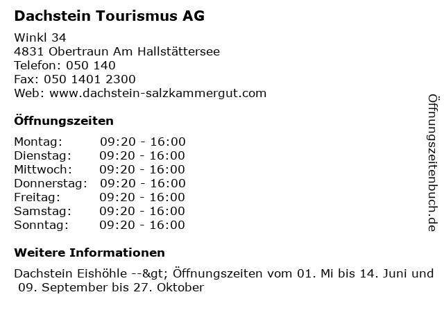 Dachstein Tourismus AG in Obertraun Am Hallstättersee: Adresse und Öffnungszeiten