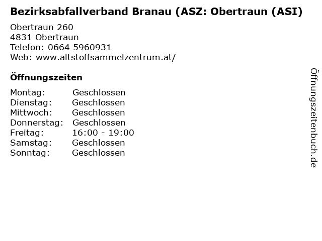 Bezirksabfallverband Branau (ASZ: Obertraun (ASI) in Obertraun: Adresse und Öffnungszeiten