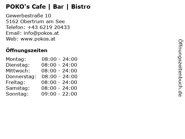 POKO's Cafe | Bar | Bistro in Obertrum am See: Adresse und Öffnungszeiten
