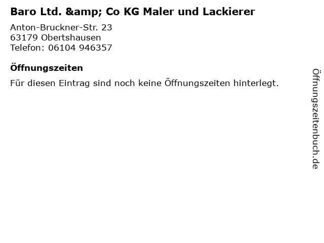 Baro Ltd. & Co KG Maler und Lackierer in Obertshausen: Adresse und Öffnungszeiten
