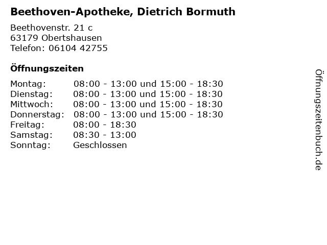 Beethoven-Apotheke, Dietrich Bormuth in Obertshausen: Adresse und Öffnungszeiten