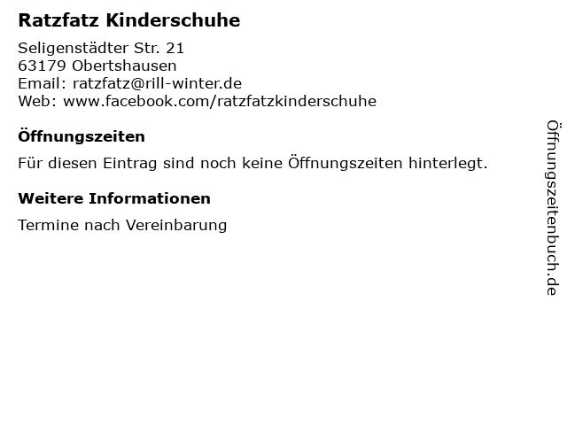 Ratzfatz Kinderschuhe in Obertshausen: Adresse und Öffnungszeiten
