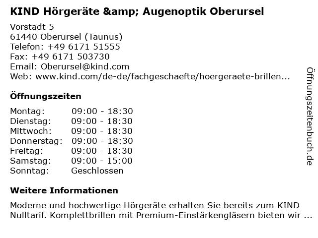 KIND Hörgeräte & Augenoptik Oberursel in Oberursel (Taunus): Adresse und Öffnungszeiten