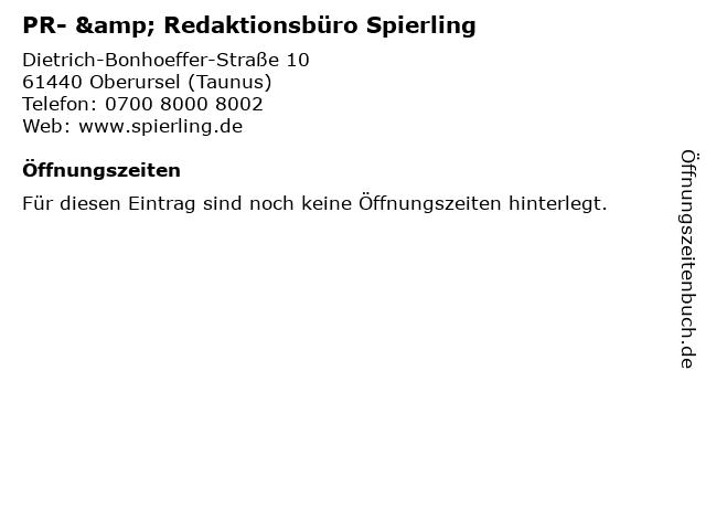PR- & Redaktionsbüro Spierling in Oberursel (Taunus): Adresse und Öffnungszeiten