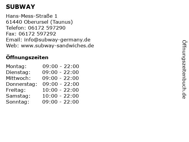SUBWAY in Oberursel (Taunus): Adresse und Öffnungszeiten