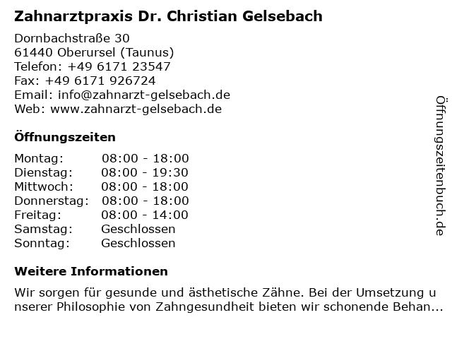 Zahnarztpraxis Dr. Christian Gelsebach in Oberursel (Taunus): Adresse und Öffnungszeiten