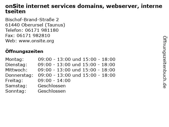 onSite internet services domains, webserver, internetseiten in Oberursel (Taunus): Adresse und Öffnungszeiten