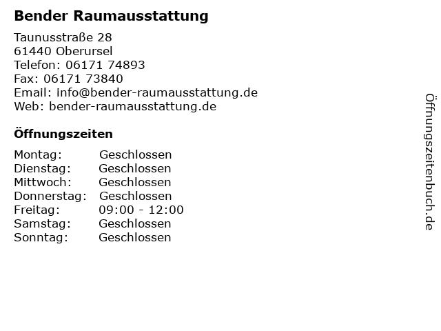 Bender Raumausstattung in Oberursel: Adresse und Öffnungszeiten