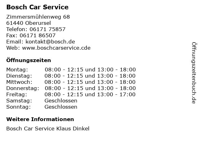 Bosch Car Service in Oberursel: Adresse und Öffnungszeiten