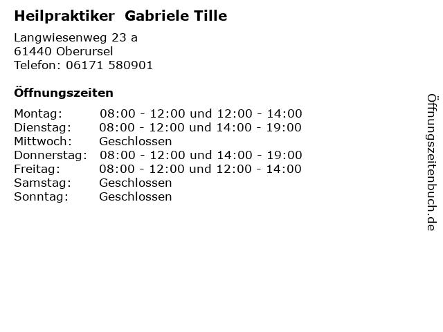 Heilpraktiker  Gabriele Tille in Oberursel: Adresse und Öffnungszeiten