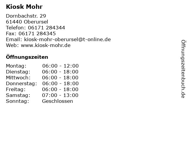 Kiosk Mohr in Oberursel: Adresse und Öffnungszeiten